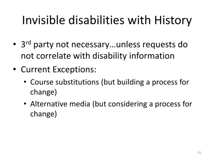 Invisible disabilities with History