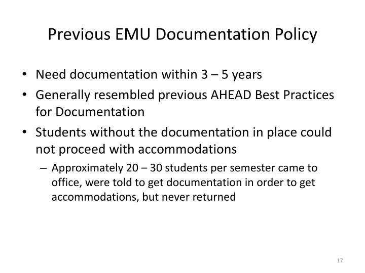 Previous EMU Documentation Policy