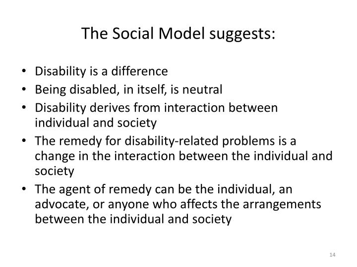 The Social Model suggests: