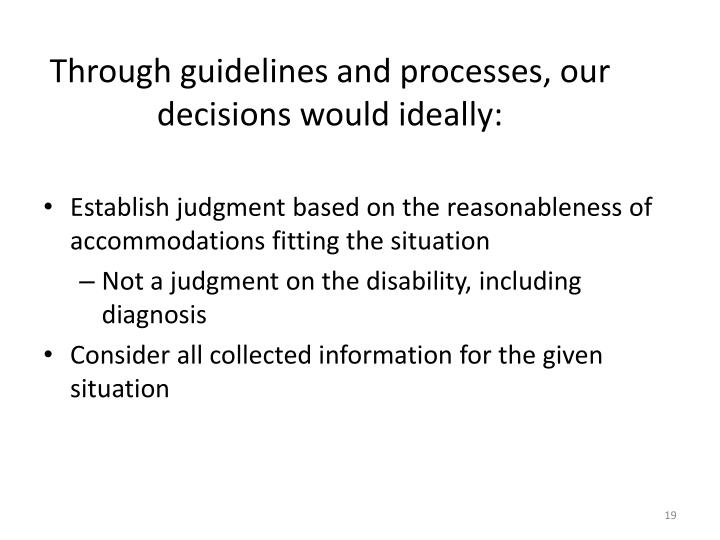 Through guidelines and processes, our decisions would ideally: