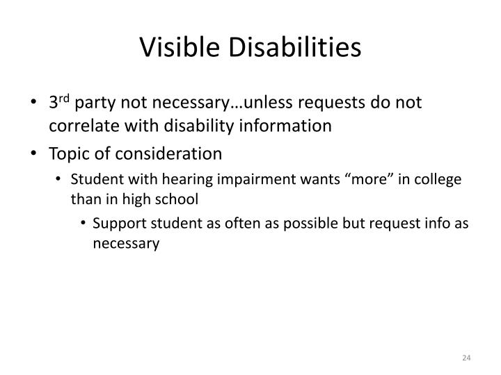 Visible Disabilities