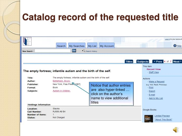 Catalog record of the requested title