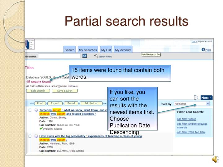 Partial search results