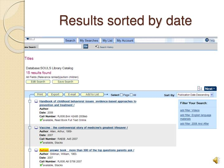 Results sorted by date