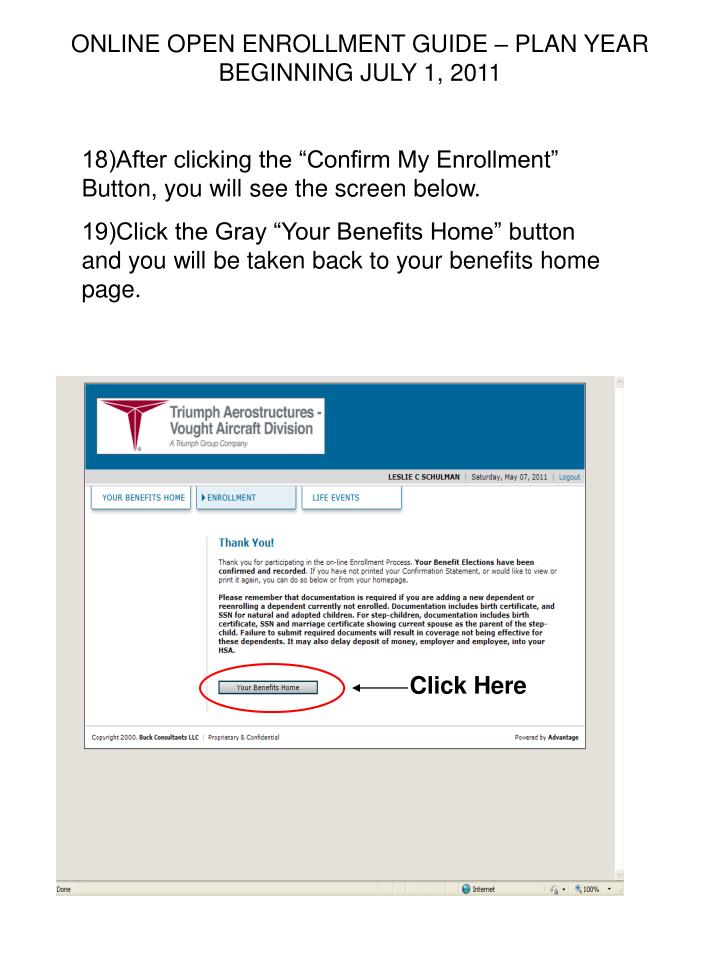ONLINE OPEN ENROLLMENT GUIDE – PLAN YEAR BEGINNING JULY 1, 2011