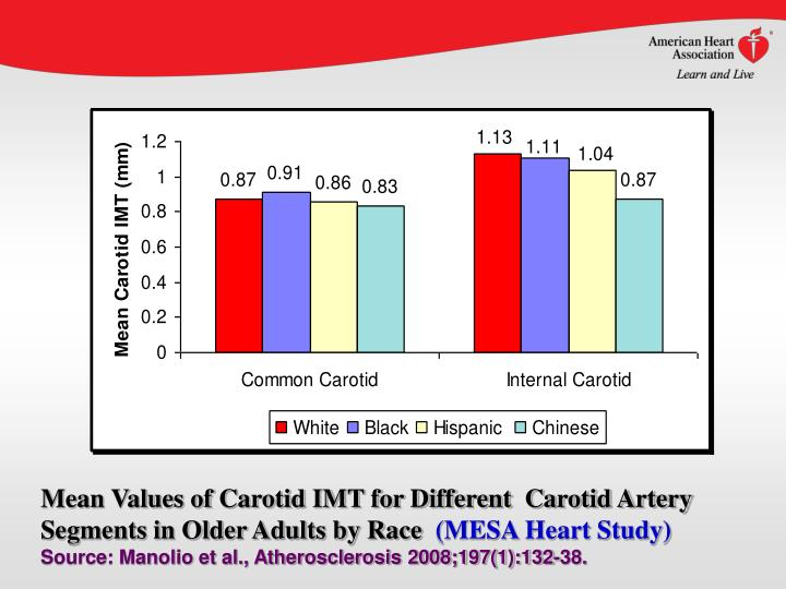 Mean Values of Carotid IMT for Different  Carotid Artery Segments in Older Adults by Race
