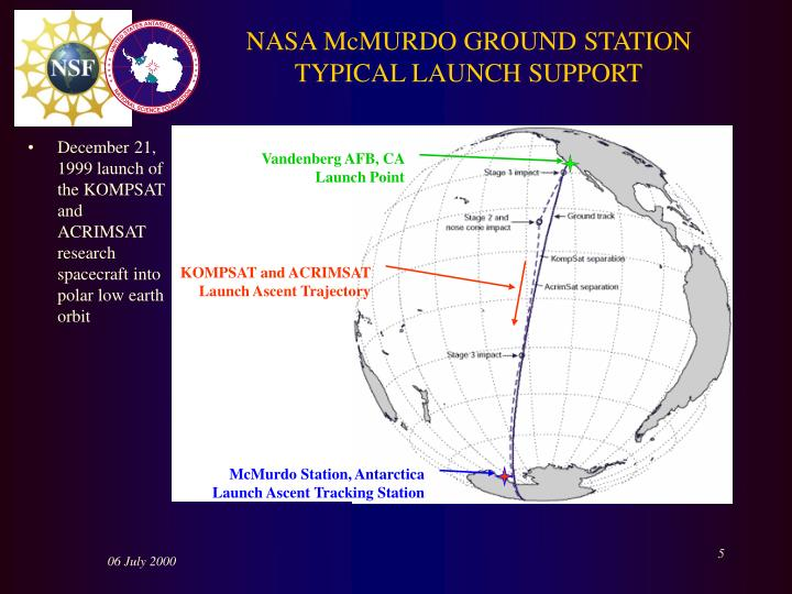 NASA McMURDO GROUND STATION TYPICAL LAUNCH SUPPORT