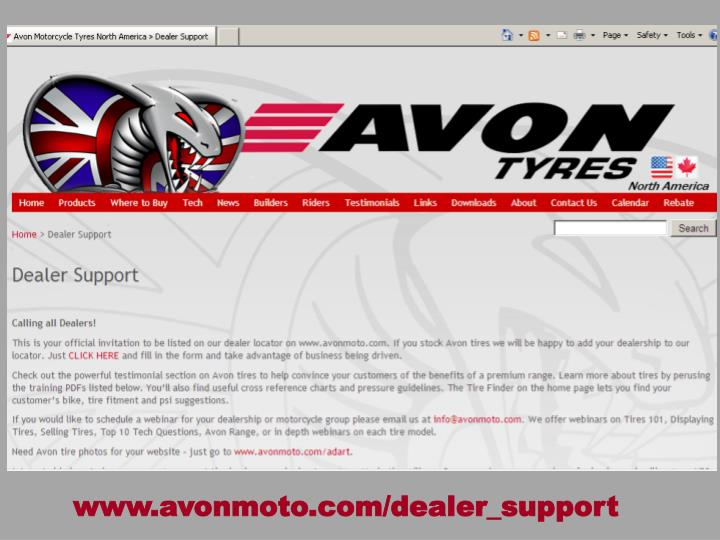 www.avonmoto.com/dealer_support