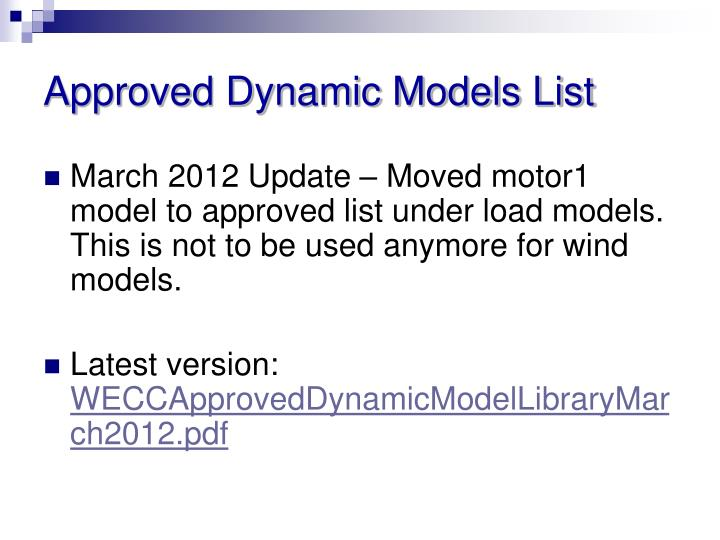 Approved Dynamic Models List
