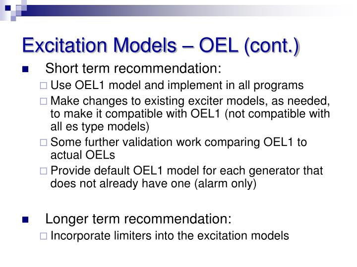 Excitation Models – OEL (cont.)