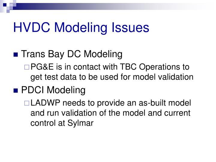 HVDC Modeling Issues
