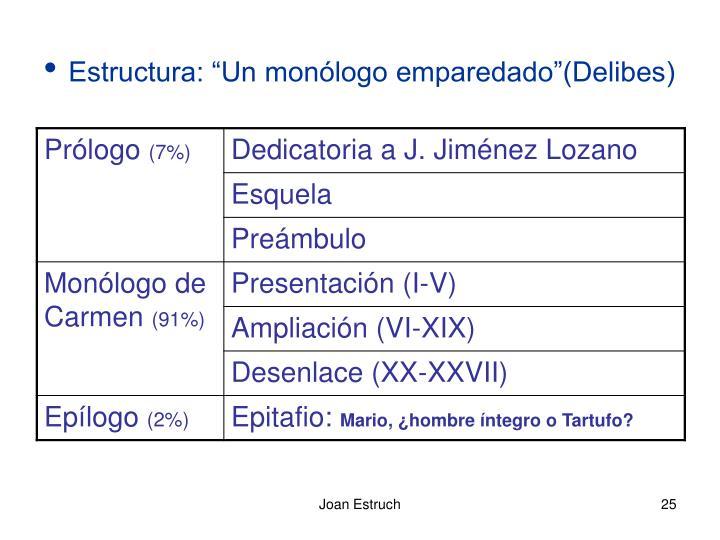 "Estructura: ""Un monólogo emparedado""(Delibes)"