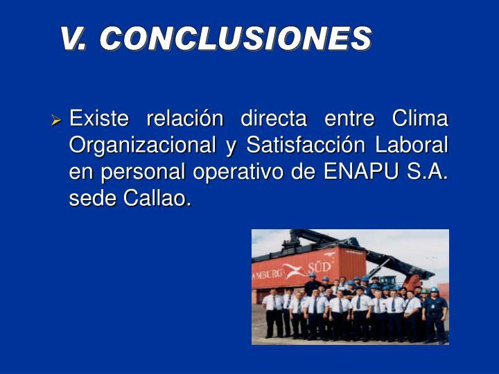 Existe relacin directa entre Clima Organizacional y Satisfaccin Laboral en personal operativo de ENAPU S.A. sede Callao.