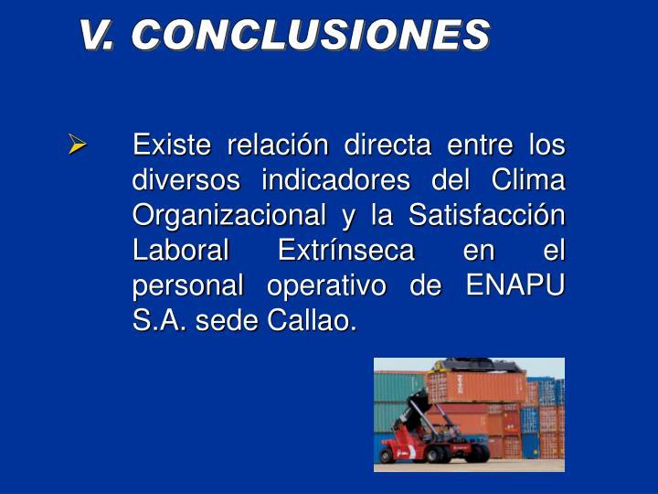 Existe relacin directa entre los diversos indicadores del Clima Organizacional y la Satisfaccin Laboral Extrnseca en el  personal operativo de ENAPU S.A. sede Callao.