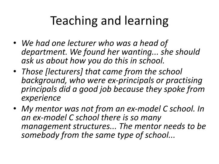 Teaching and learning