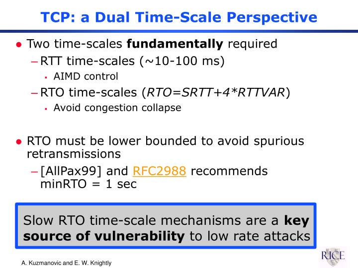 TCP: a Dual Time-Scale Perspective