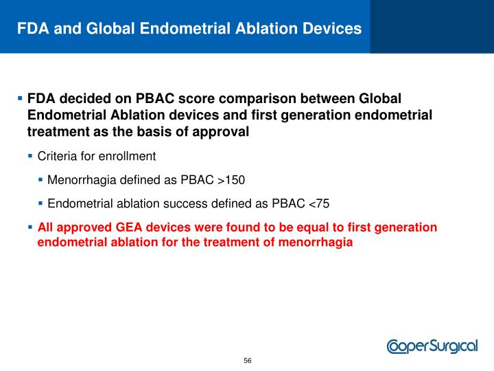 FDA and Global Endometrial Ablation Devices