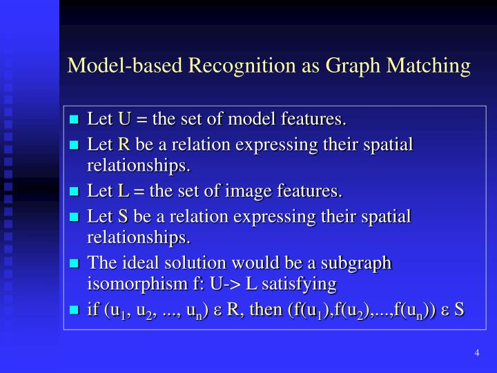 Model-based Recognition as Graph Matching
