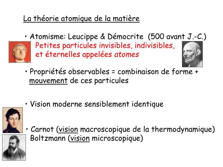 La théorie atomique de la matière