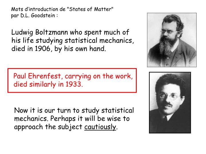 """Mots d'introduction de """"States of Matter"""""""