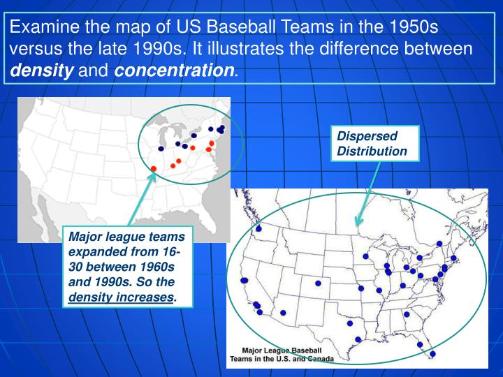 Examine the map of US Baseball Teams in the 1950s versus the late 1990s. It illustrates the difference between