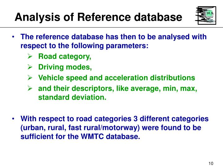 Analysis of Reference database