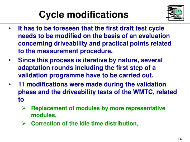 Cycle modifications