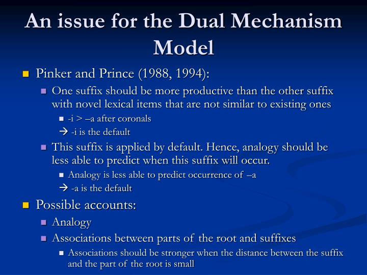 An issue for the Dual Mechanism Model