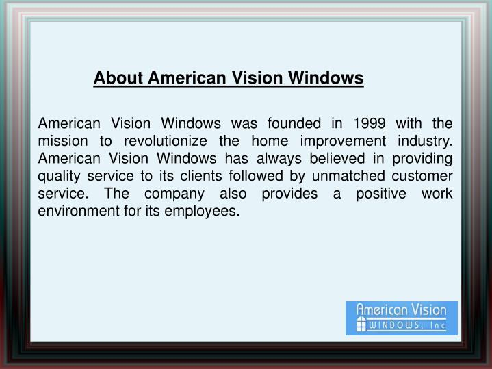 About American Vision Windows