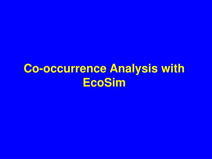 Co-occurrence Analysis with EcoSim
