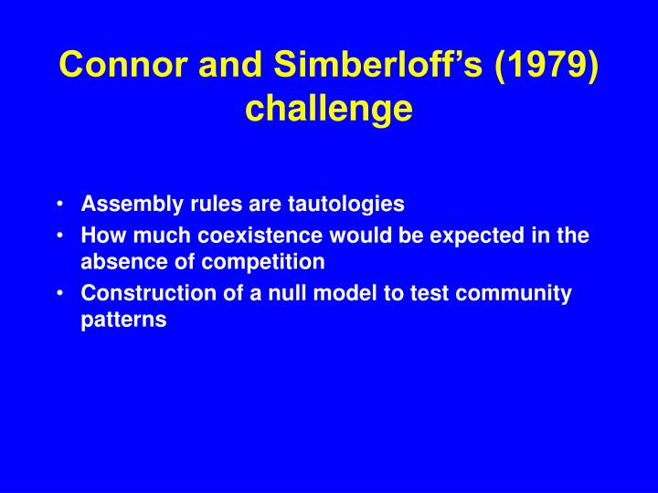Connor and Simberloff's (1979) challenge