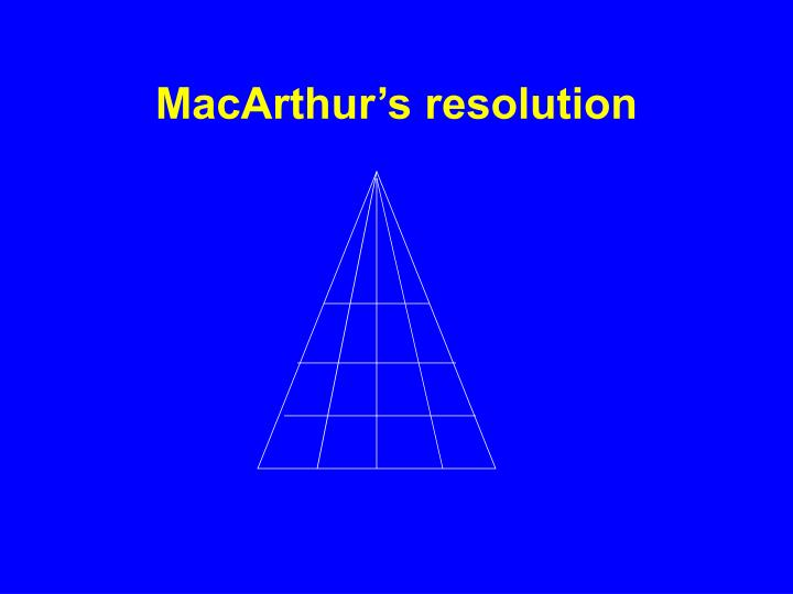 MacArthur's resolution