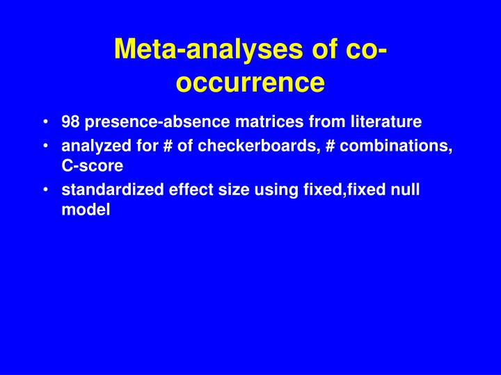 Meta-analyses of co-occurrence