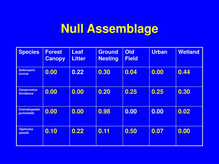 Null Assemblage