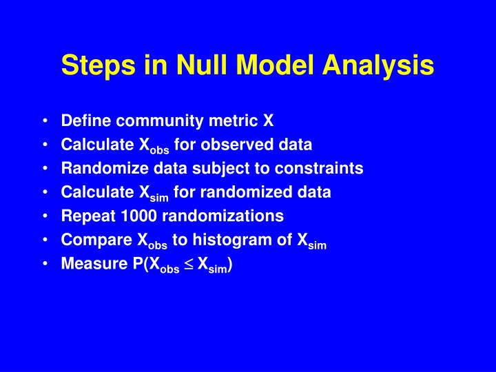Steps in Null Model Analysis