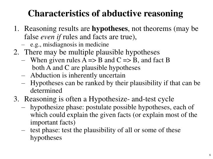 Characteristics of abductive reasoning