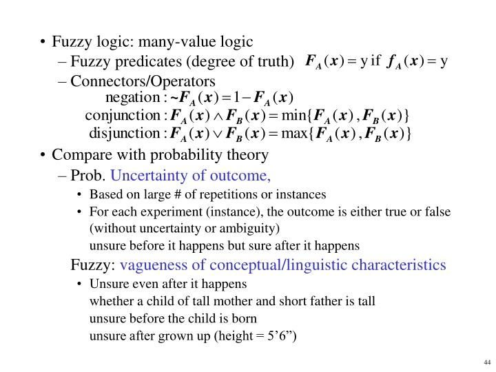 Fuzzy logic: many-value logic