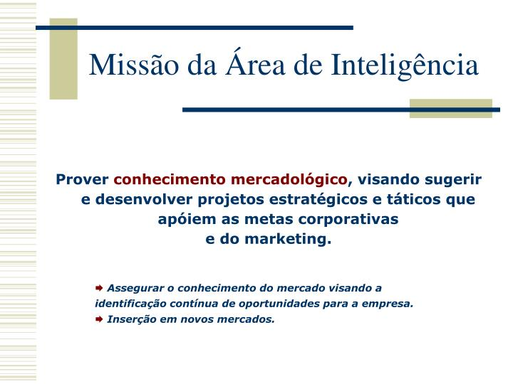 Missão da Área de Inteligência