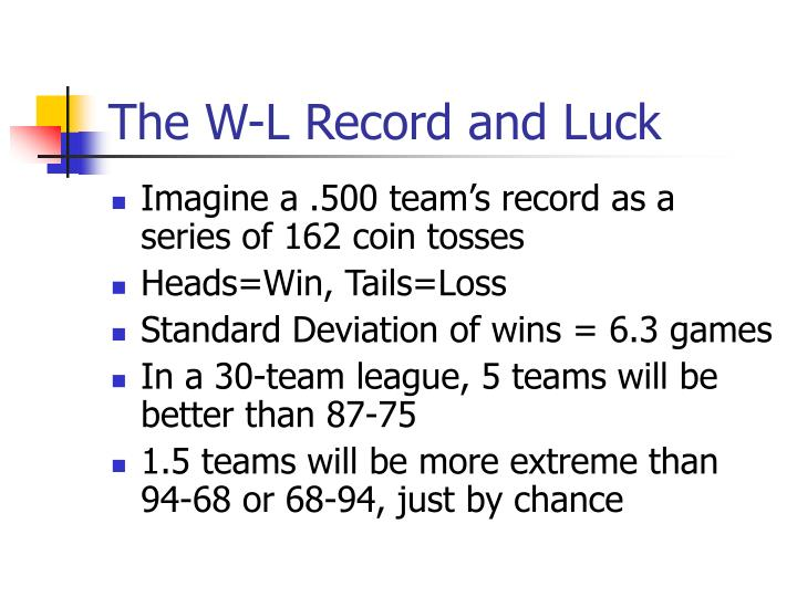 The w l record and luck