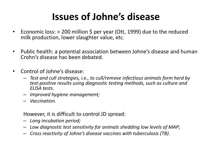 Issues of Johne's disease