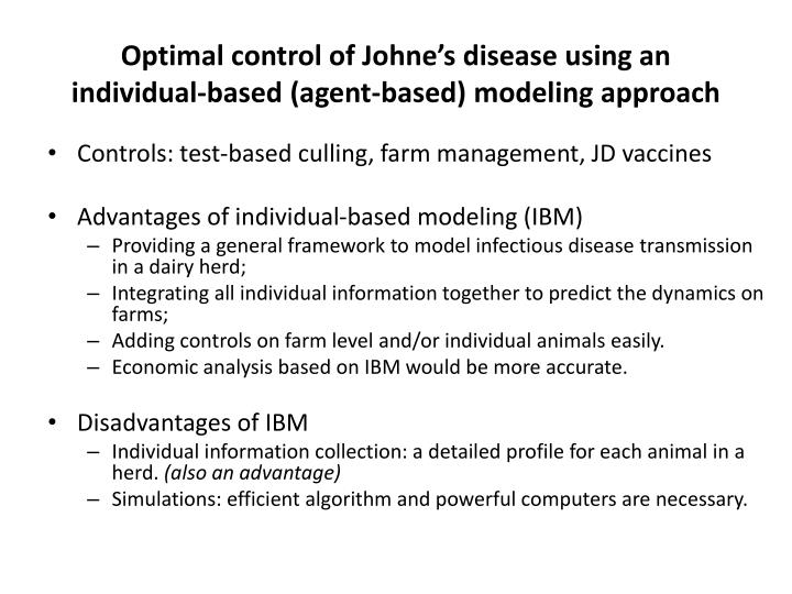 Optimal control of Johne's disease using an