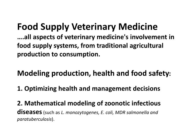 Food Supply Veterinary Medicine