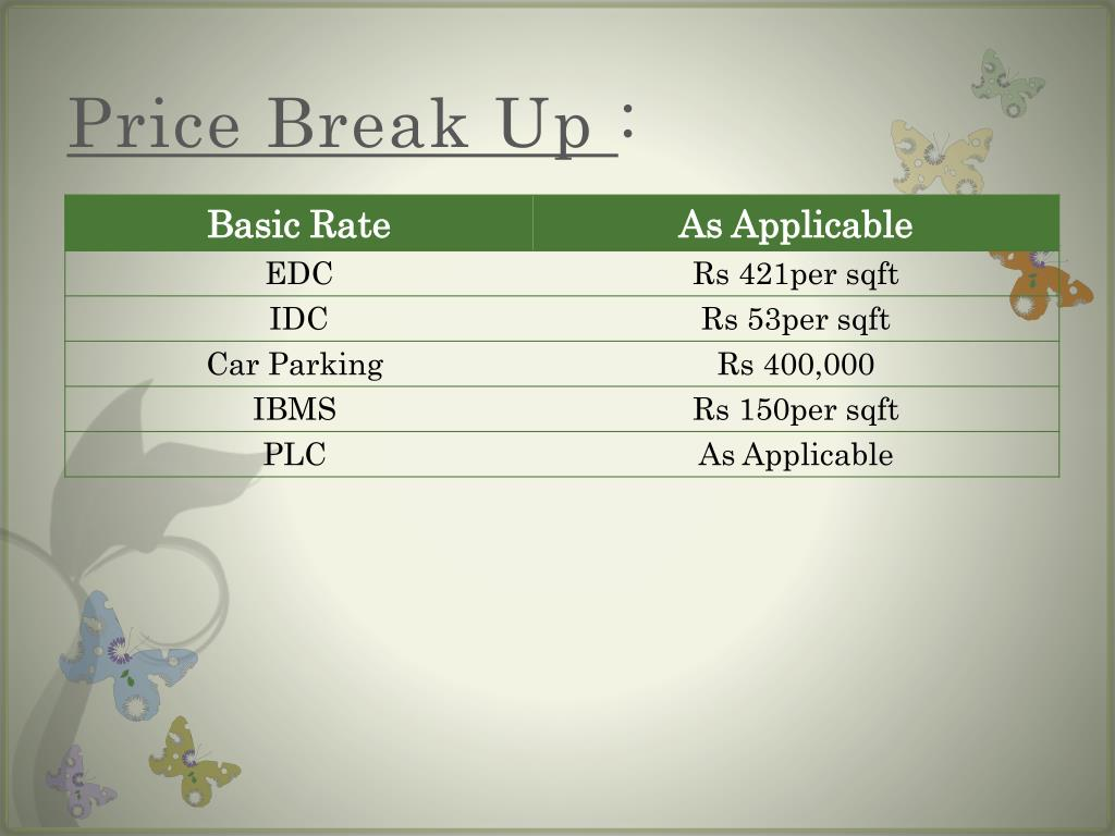 Price Break Up