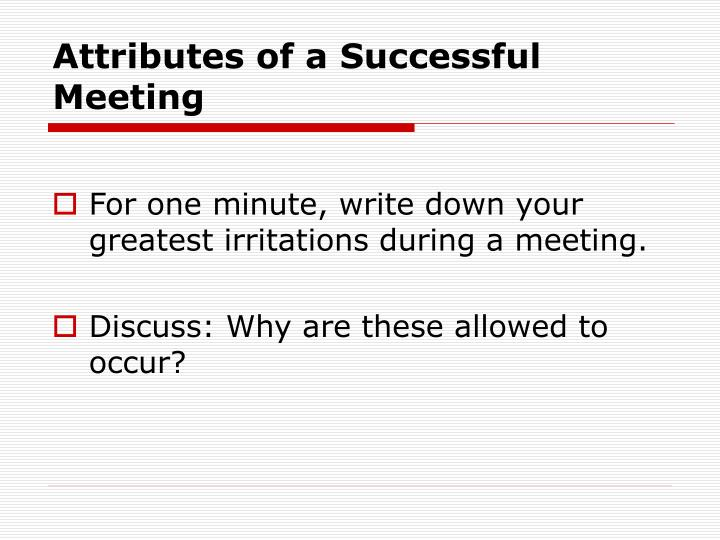 Attributes of a Successful Meeting