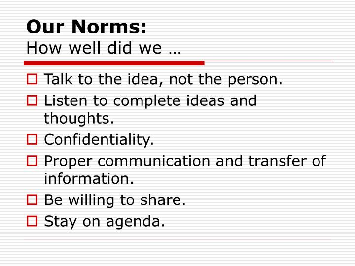 Our Norms: