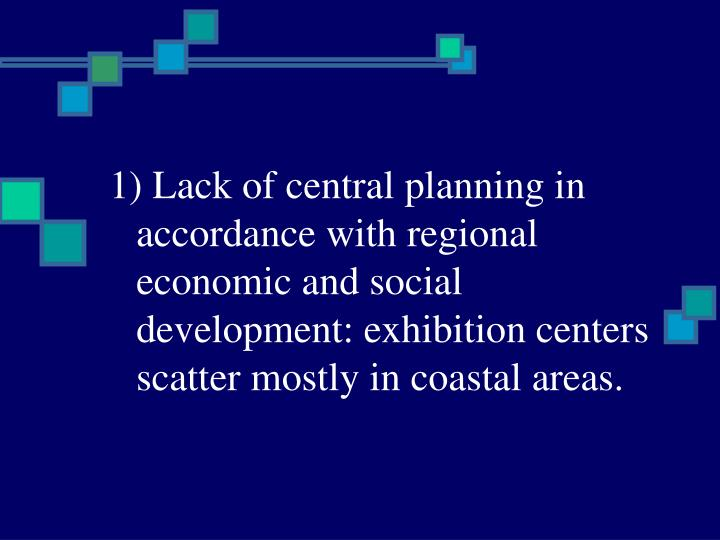 1) Lack of central planning in accordance with regional economic and social development: exhibition centers scatter mostly in coastal areas.