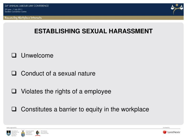 ESTABLISHING SEXUAL HARASSMENT