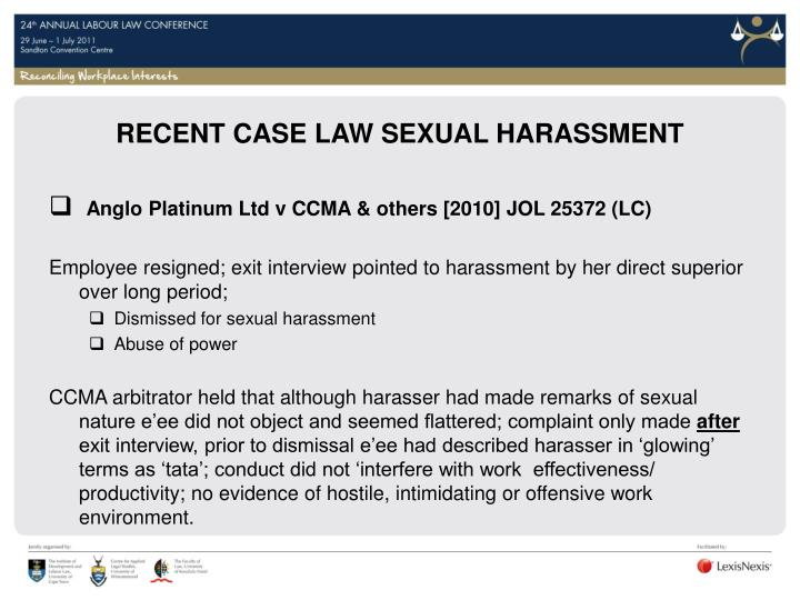 RECENT CASE LAW SEXUAL HARASSMENT