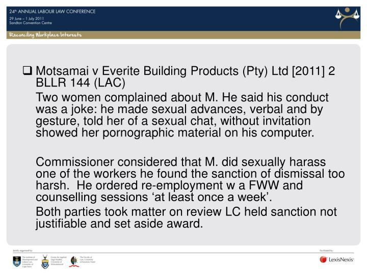 Motsamai v Everite Building Products (Pty) Ltd [2011] 2 BLLR 144 (LAC)