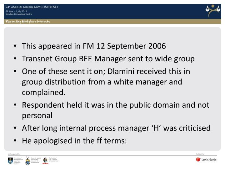 This appeared in FM 12 September 2006